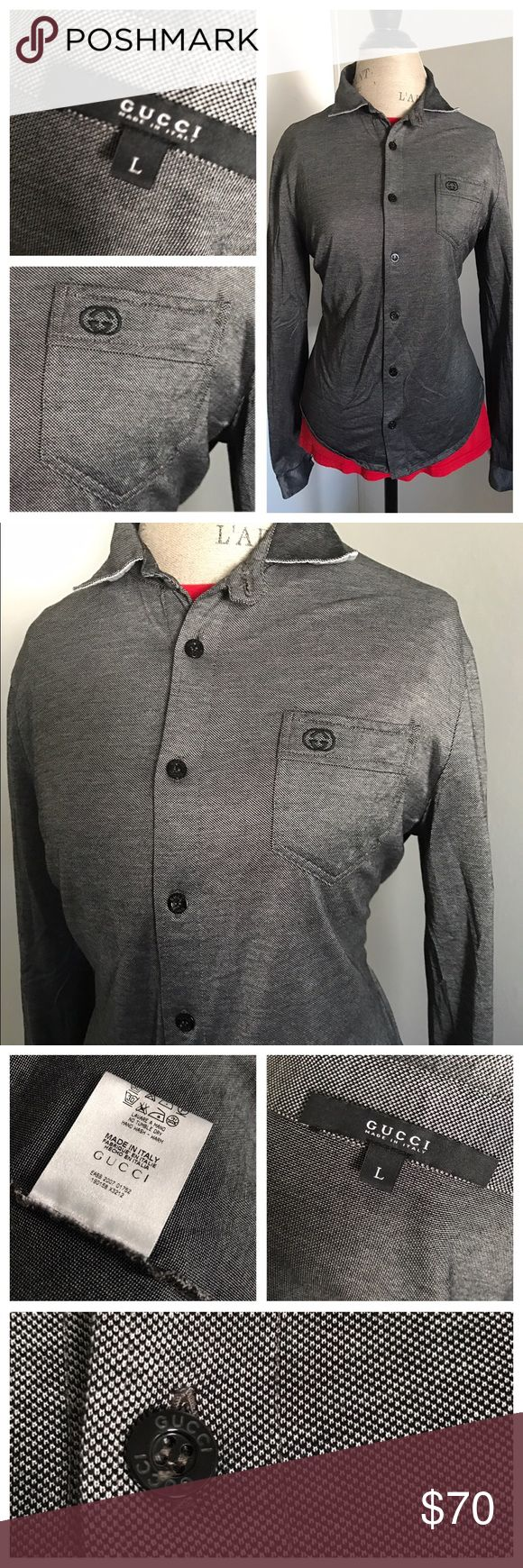 Gucci top Yes this is authentic it is a very comfortable top in very good condition it has a black sort of denim look to it it's a size large I would say petite large and medium fits best Gucci Tops Button Down Shirts