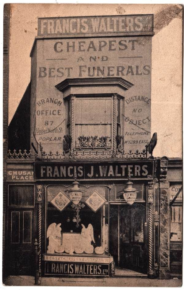 Francis J. Walters, Undertakers, 811 Commercial Rd from Philip Mernick's East London Shopfronts