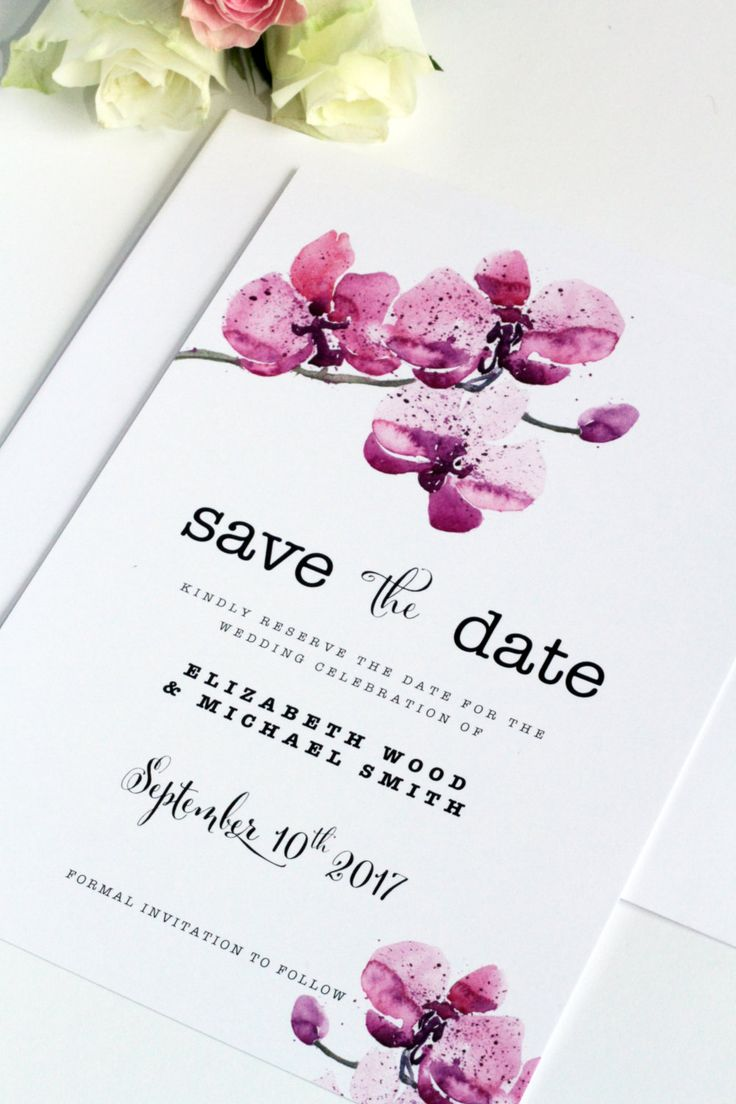 Digital File or Printed Card, Handdrawn Orchid Save the Date Card, Premium Cardboard, Orignal by Paradise Invitations by ParadiseInvitations on Etsy