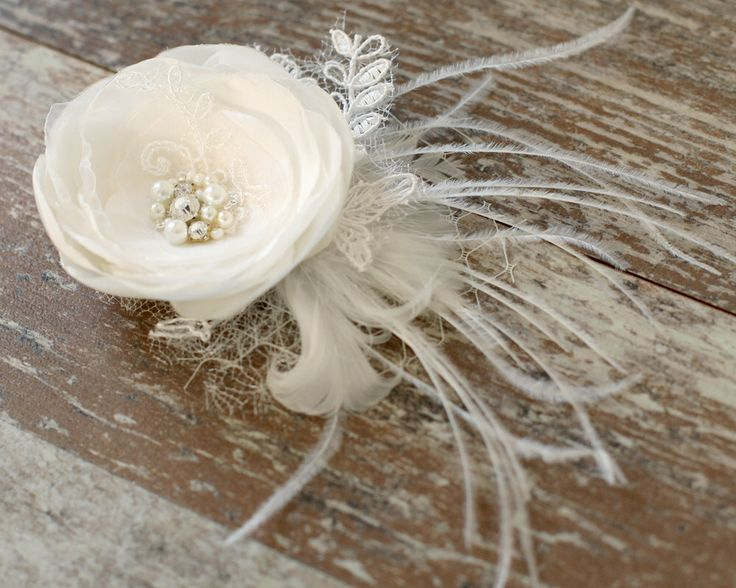Ivory flower, bridal hair flower, lace flower,hair clip, weddings accessories,bridal hair fascinator, headpiece, pearls, rhinestones. by LovelyFlowersField on Etsy https://www.etsy.com/listing/202165157/ivory-flower-bridal-hair-flower-lace