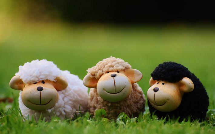 Télécharger fonds d'écran des moutons, des 4k, l'herbe verte, plan rapproché, prairie, du flou, de la céramique jouets