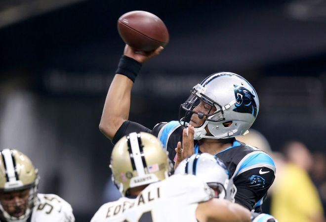 Panthers vs. Saints:      October 16, 2016  -  41-38, Saints  -    Carolina Panthers at New Orleans Saints  Oct 16, 2016; New Orleans, LA, USA; Carolina Panthers quarterback Cam Newton (1) makes a throw against the Carolina Panthers in the first quarter of the game at the Mercedes-Benz Superdome. Mandatory Credit: Chuck Cook-USA TODAY Sports