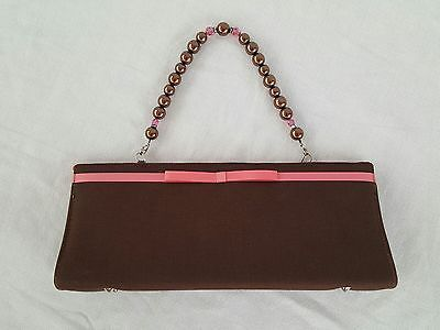 Evening Bag Brown Beaded Strap Pink Ribbon Snap Closure Inside Pocket 12 inches