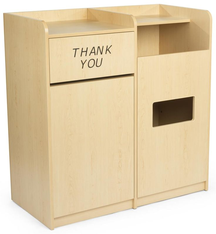 Waste Receptacle & Recycling Bins w/ Thank You Message, Tray Top Shelf – Maple
