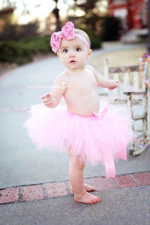 Pink Princess First Birthday Tutu and Headband with Tiara Rhinestone baby girl portraits photography