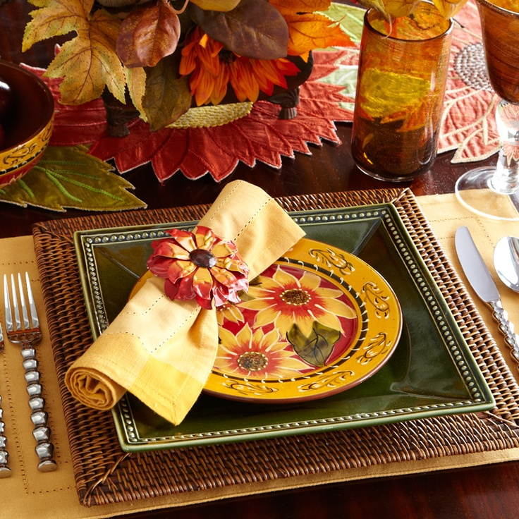 Pier 1 Sunflower Dinnerware With Rattan Charger Adds Personality To The Table
