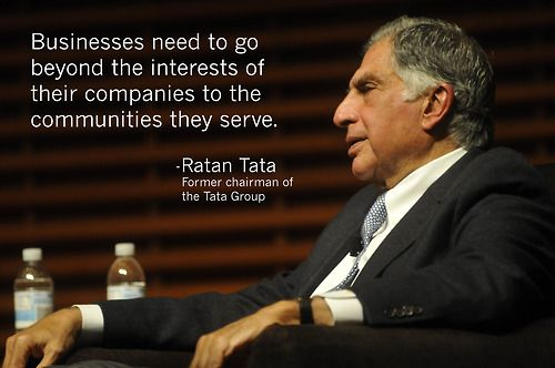 """In yesterday's Stanford GSB View From The Top Series talk, Ratan Tata shared his philosophy on corporate social responsibility: """"Businesses need to go beyond the interests of their companies to the communities they serve.""""    #leadership #business #responsibility"""