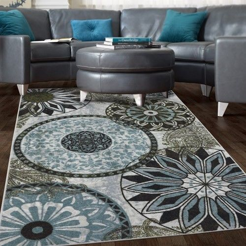 Details About New Medallion Nylon Area Rug Gray Blue Navy