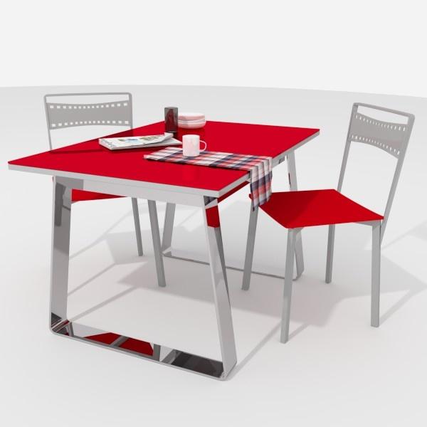 Mesa de cocina Mika, con las patas cromadas y el cristal en rojo ...