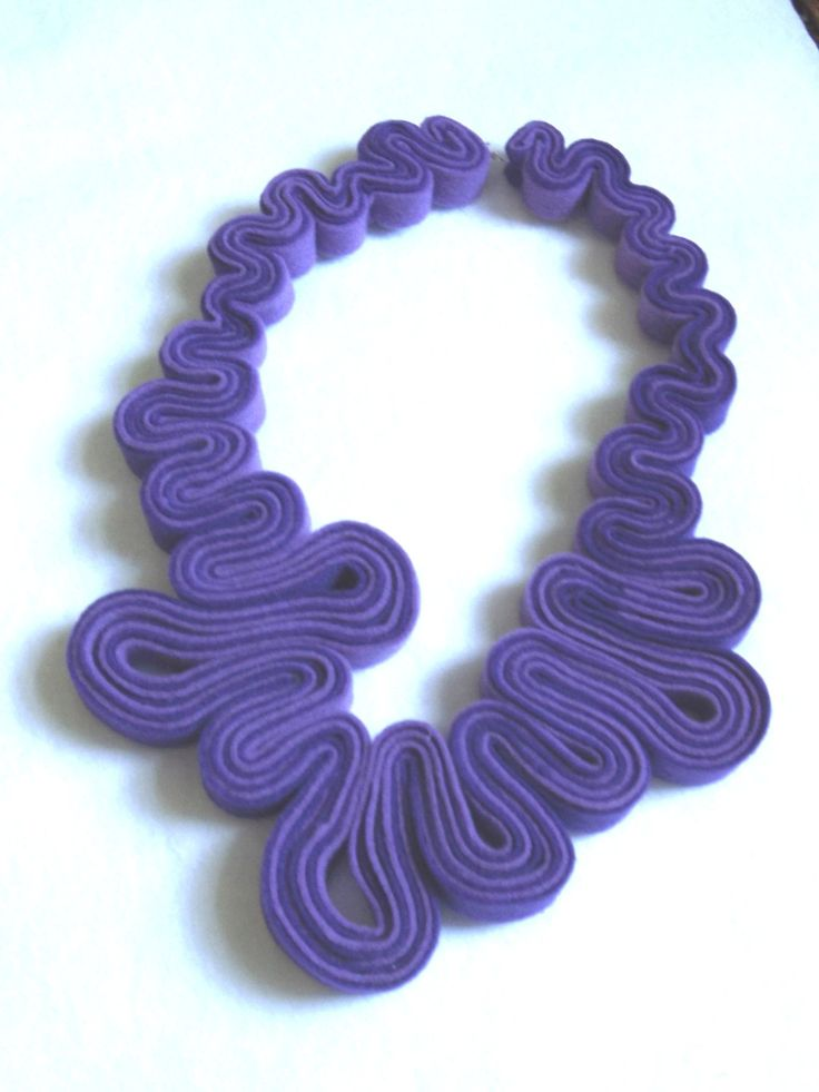 Statement Necklace Felt Necklace Felted Jewelry Purple Recycled Eco Friendly Felt Bib Necklace. $30.00, via Etsy.