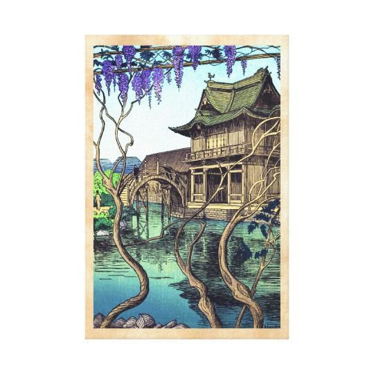 Japanese wall art is incredibly beautiful especially anything that has geishas, cherry blossoms, japanese friendship gardens and bridges.  I particularly love some of the japanese wall fans and other oriental wall art available. Nouet Noel Kameido shin hanga japanese scenery Canvas Print