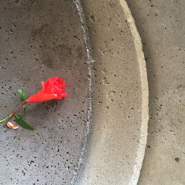 concrete plate & pomegranate flower