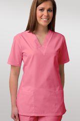 Jest to klasyczna bluza wkładana przez głowę. Kolor malinowy doskonale pasuje do każdej kobiety. Krótki rękaw, dwie kieszenie na wysokości bioder. Fason taliowany gwarantuje lepsze dopasowanie do sylwetki. Szczegóły na: http://www.uniformix.pl/product-pol-872-Bluza-medyczna-damska-taliowana-malinowa-JC101.html