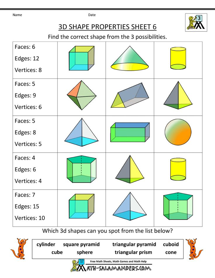 Printable Worksheets shapes worksheets pdf : The 25+ best Solid shapes ideas on Pinterest | 3d shapes ...