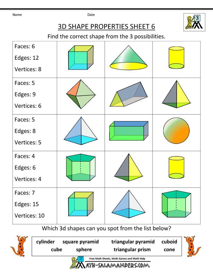 3d shapes worksheets properties 6 teaching pinterest shape geometry worksheets and geometry. Black Bedroom Furniture Sets. Home Design Ideas