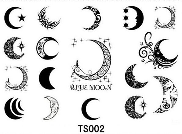 Tattoo Stencils Printable Moon: 12pcs/lot Free Shipping Sexy Moon Star Tattoo Stickers