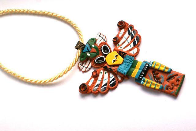 Aztec, Native, DIY , Polymer CLay , Handmade