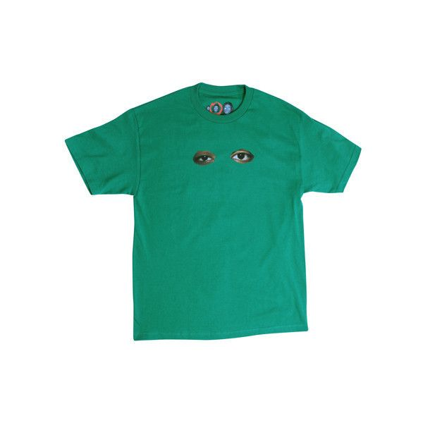 ODD EYES GREEN TEE (£23) ❤ liked on Polyvore featuring tops, t-shirts, shirts, cotton tee, tee-shirt, green shirt, odd t shirts and green t shirt