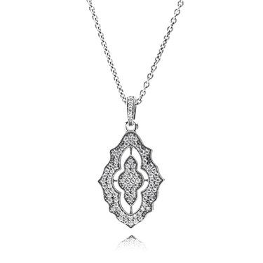 Pandora Lace Beauty Pendant and Chain £125.00 390362CZ-90 For a touch of timeless romance this shimmering statement necklace is a classic addition to your jewellery collection, capturing the beauty of antique lace this piece is beautifully crafted from sterling silver embellished with sparkling cubic zirconia crystals and adjustable chain. http://www.argento.co.uk/en/Pandora-Lace-Beauty-Pendant-and-Chain/m-48710.aspx