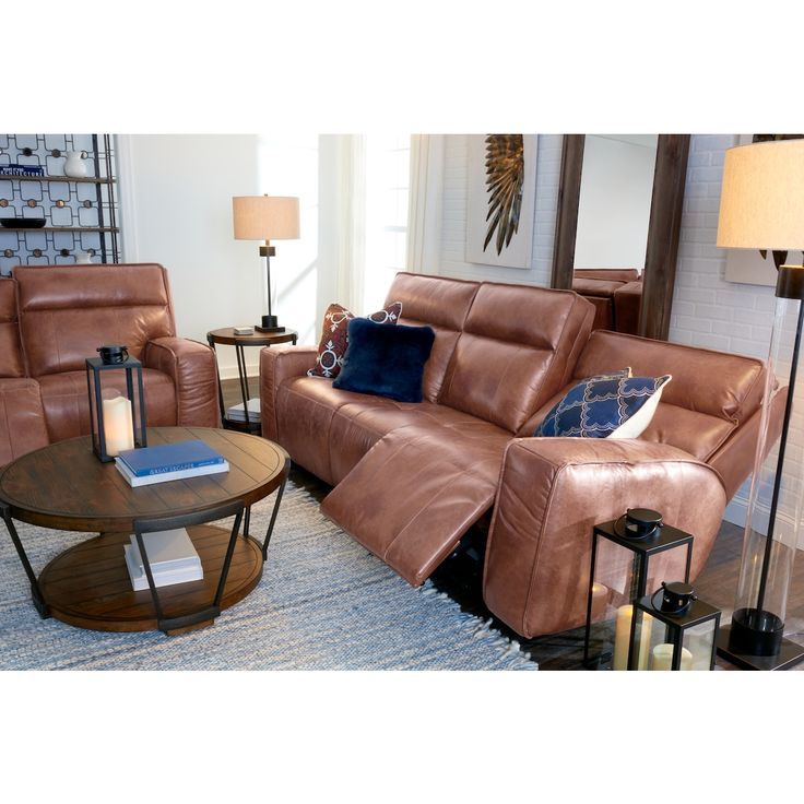 Bradley Triple Power Reclining Sofa, Reclining Loveseat and Recliner Set | Value City Furniture and Mattresses