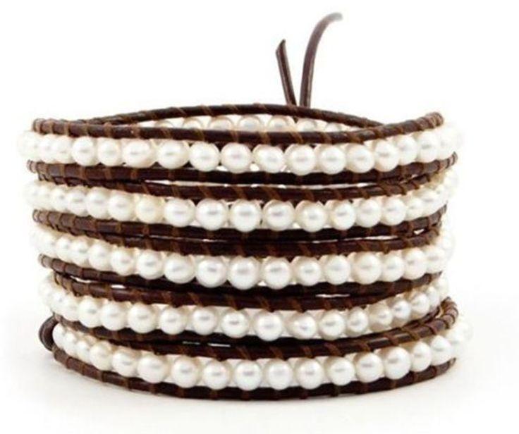 "Genuine Brown Leather with Natural Fresh Water Pearls 34"" Warp Bracelet"