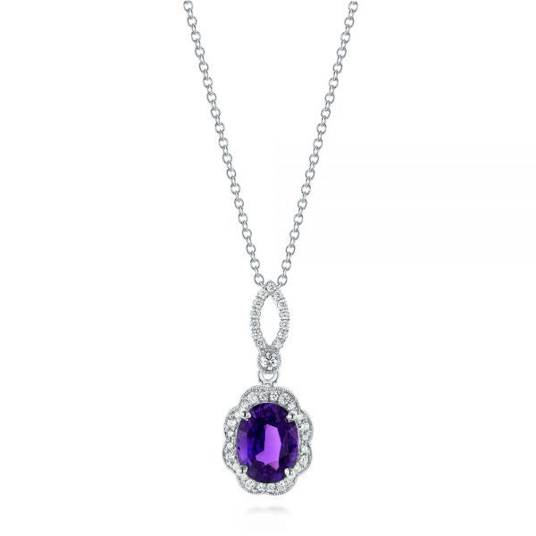 17 best custom birthstone jewelry images on pinterest joseph purple sapphire and diamond pendant mozeypictures Choice Image