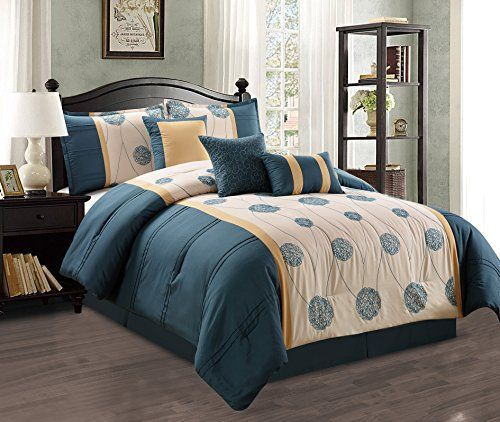 Modern 7 Piece KING Quilted Bedding Teal Blue  Beige  Gold Luxury Comforter Set with accent pillows *** AMAZON Great Sale