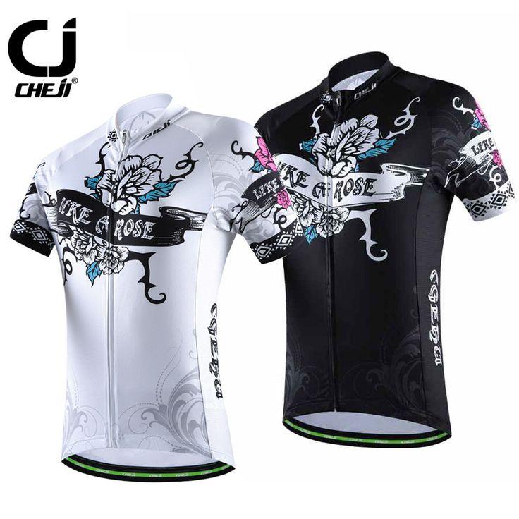 CHEJI Women's Cycling Jerseys Riding Biking Jerseys Bike Shirts Top Black / White Rose