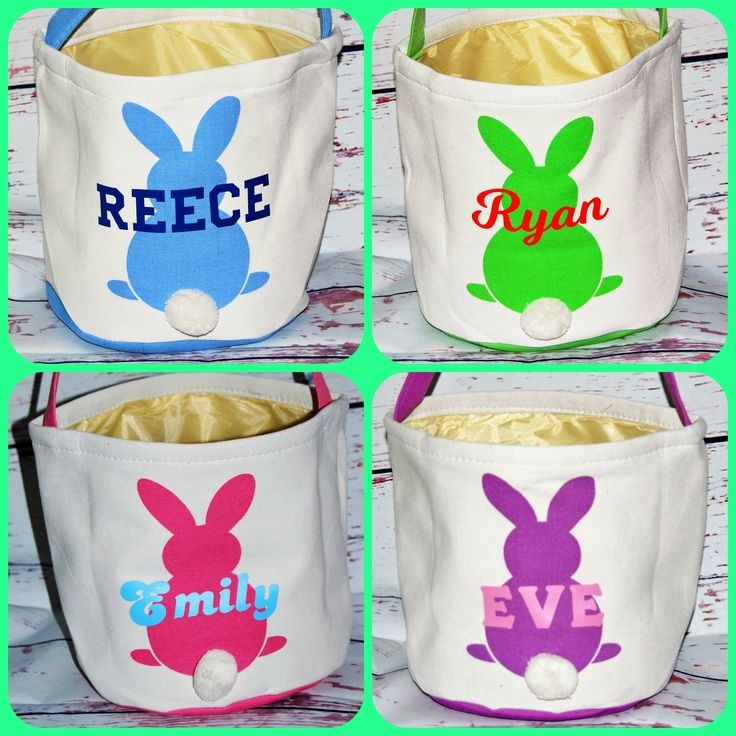 Excited to share the latest addition to my #etsy shop: Personalized Easter Basket. Canvas Easter Basket  Vinyl Personalization - Order Now in Pink, Blue, Purple or Green. For Girls and Boys #easter #easterbasket #girlbasket #bunnyrabbit #boybasket #personalizedbasket #cottontail #monogram
