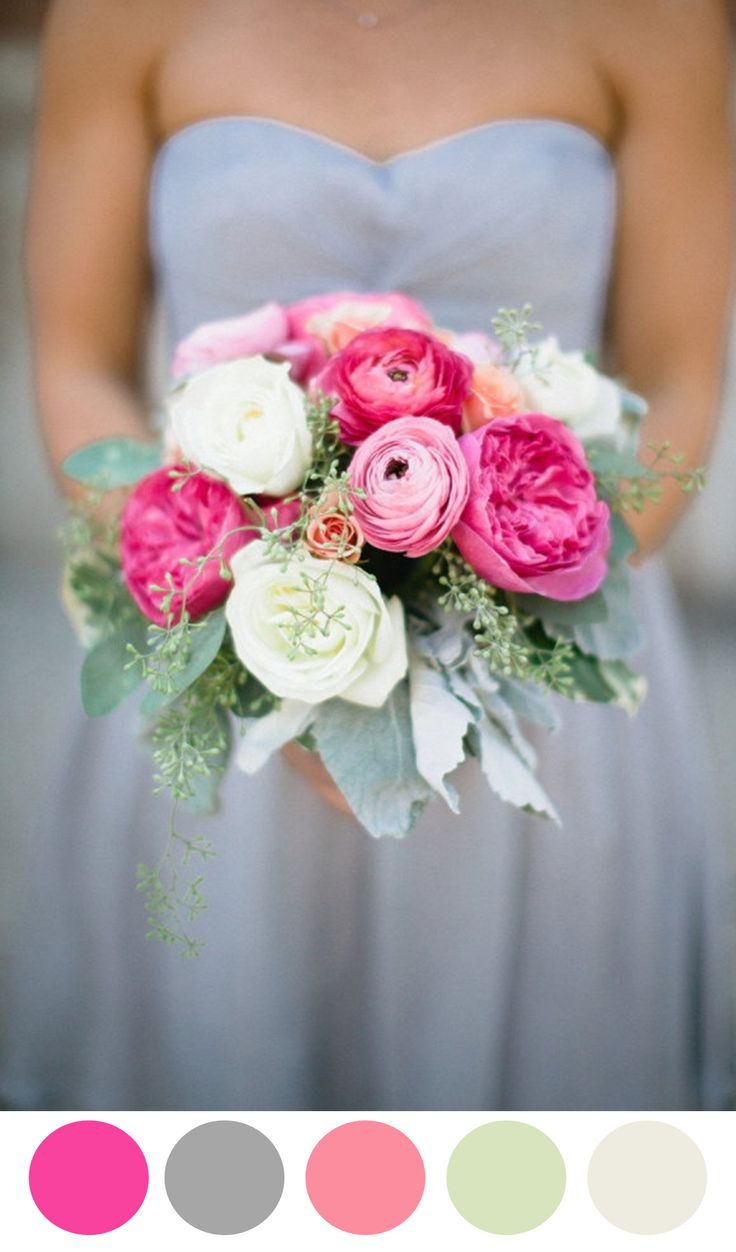 I am starting to love a neutral shade for a bridesmaid dress with a pop of color for the flowers