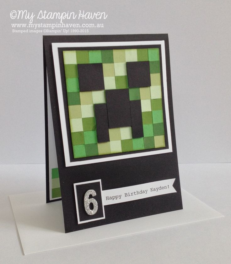 Minecraft Creeper punch art, custom birthday card #MyStampinHaven #StampinUp
