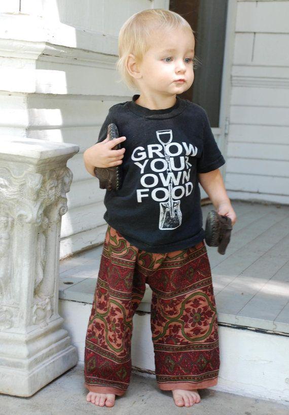 Hippie Pants Green Rust Tier Drop Paisley design Toddler