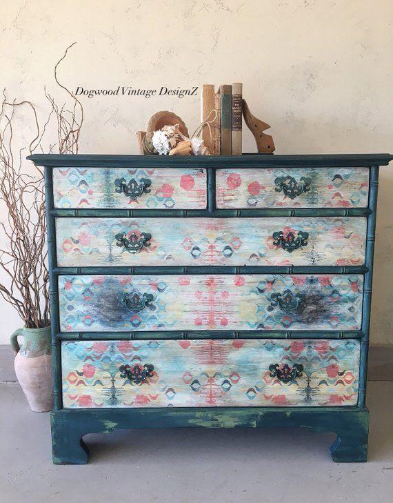 SOLD** Blue Dresser Hand Painted - Bedroom Dresser - Boho ...