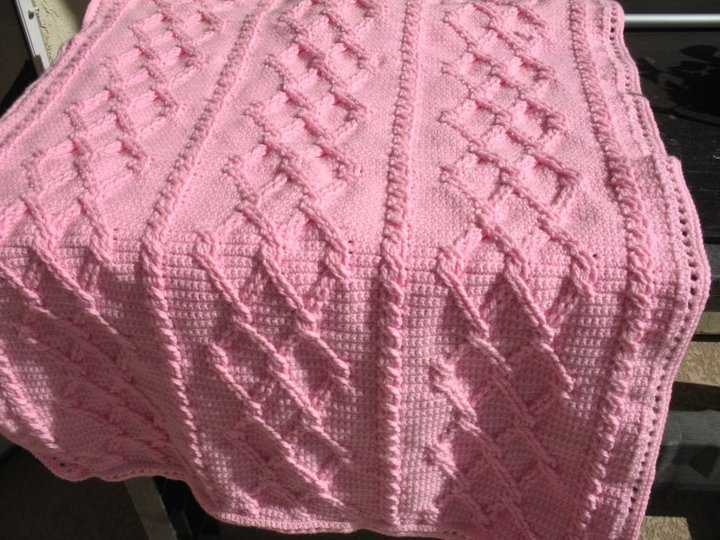 Crochet Cable Baby Blanket Pattern : Pink crocheted cable baby afghan Cable crochet Pinterest