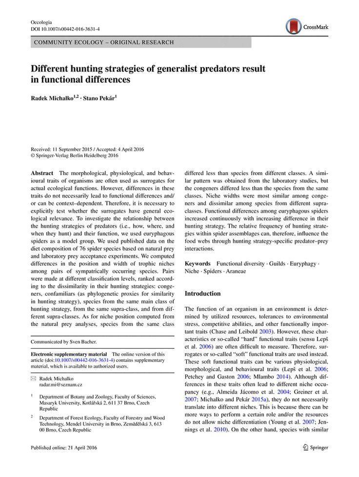 different hunting strategies generalist spiders