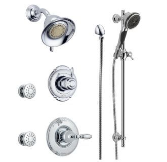Delta Dss Victorian 1403ss Brilliance Stainless Monitor 14 Series Single Function Pressure Balanced Shower System With Shower Head 2 Body Sprays And Hand Showe Shower Systems Shower Heads Hand Shower
