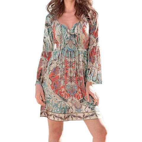 Bohemian Neck Tie Vintage Printed Ethnic Shift Slim Mini Dress Short Dress