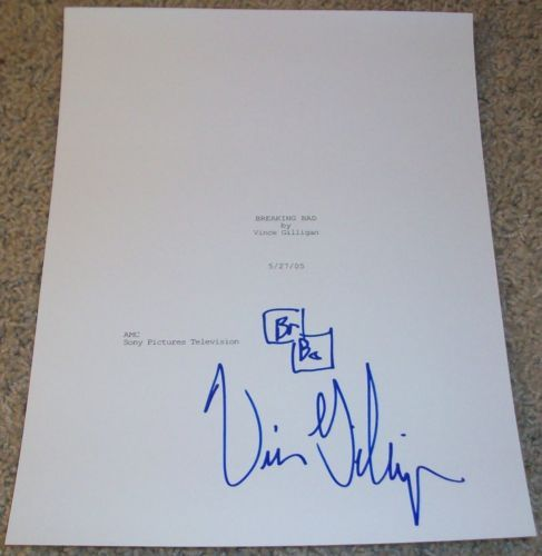 VINCE-GILLIGAN-SIGNED-BREAKING-BAD-PILOT-58-PAGE-SCRIPT-w-VIDEO-PROOF-DRAWING
