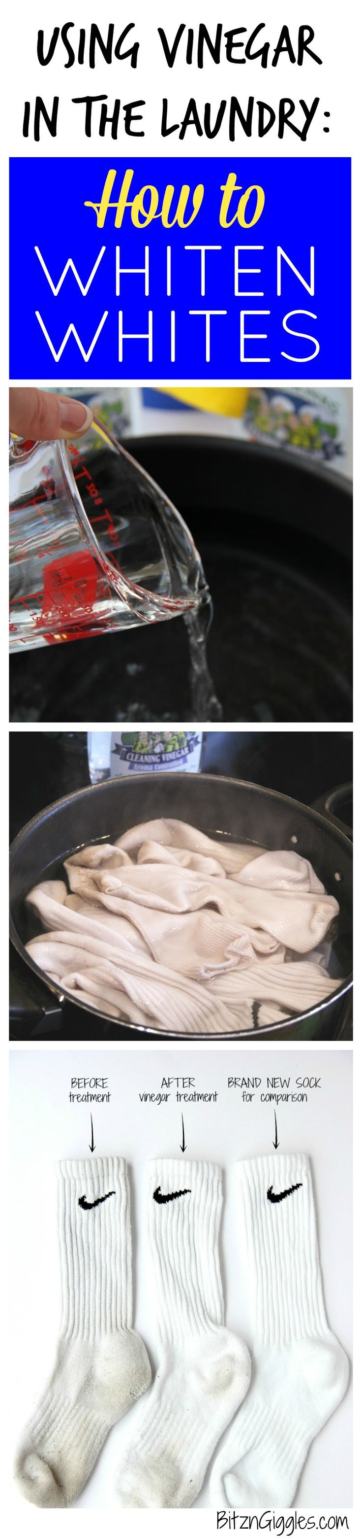 Using Vinegar in the Laundry: How to Whiten Whites - Tutorial on using a natural cleaner to brighten dingy white socks and clothes! It really works! #FourMonksClean AD