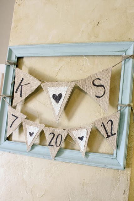 Wedding shower decorations ... Frames ... Burlap banners and garland ... Signs