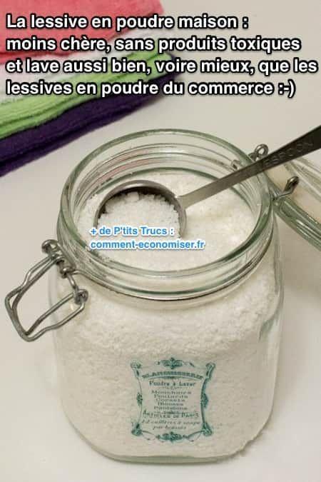 La lessive en poudre maison est moins chère et marche aussi bien que les lessives du commerce.