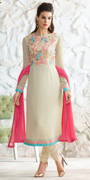 Teriffic Cream And Pink Georgette Straight Suit.