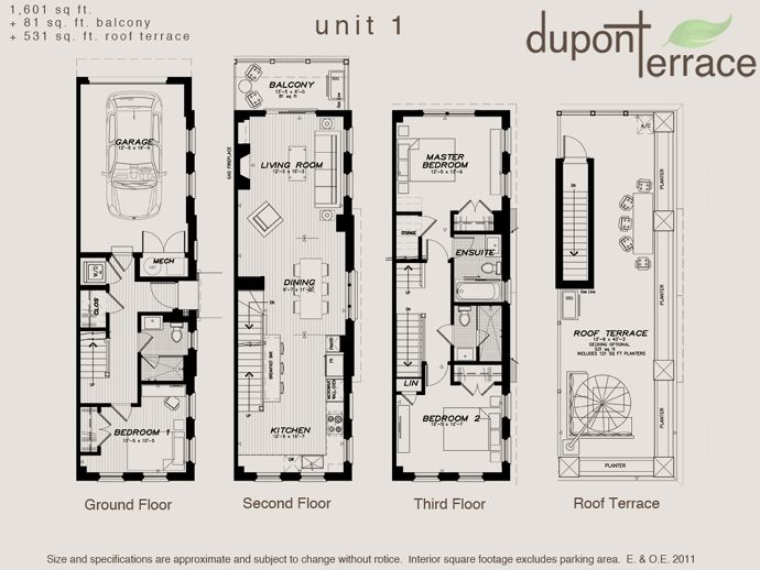 Floor Plans For Townhomes Part - 49: Toronto Dupont Terrace Floor Plan.