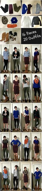 "16 Pieces/20 Outfits. Great for packing or every day ""I don't have anything to wear""!"
