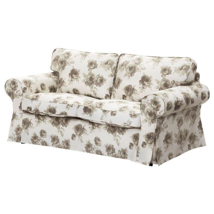 ikea ektorp sofa cover 2 seat loveseat slipcover norlida white beige roses new