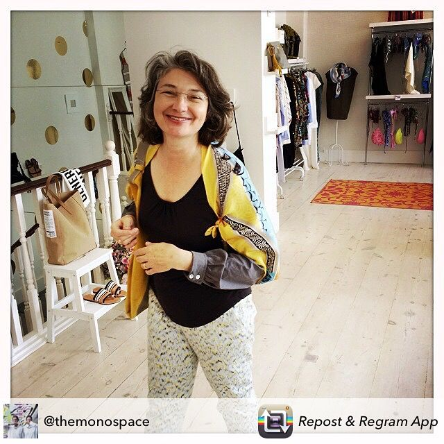 "Happy MONO costumer, Liz, wearing the ""Mycenaean"" silk scarf as a light cardigan! <3"