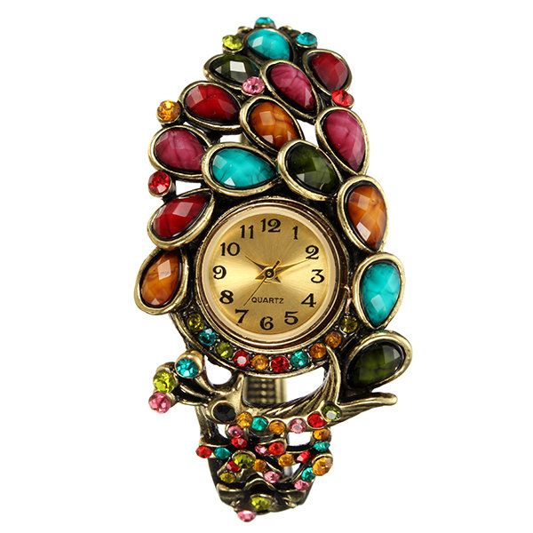 Retro Cloisonne Watch Vintage Peacock Rhinestone Crystal Watch for Women Gift online - NewChic