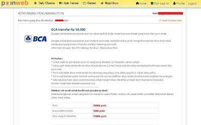 Penukaran poin di situs PoinWeb dengan uang yang akan ditransfer melalui rekening BCA | SurveiDibayar.com