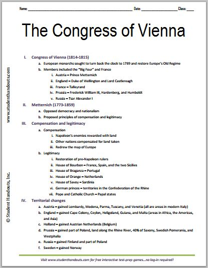 Comparing congress of vienna to treaty of versailles