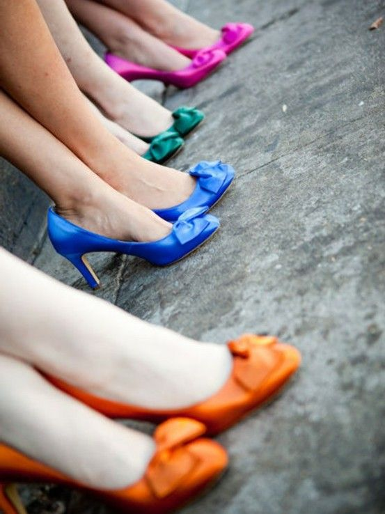 I like the different coloured shoes! Bridesmaids don't need to match?? Sailor Scout Colors